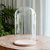 Large Glass Display Dome with Wood Base