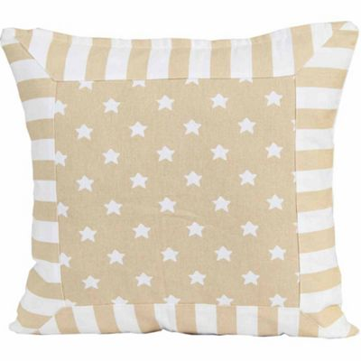 Homescapes Cotton Beige Stripe Border and Stars Cushion Cover, 45 x 45 cm