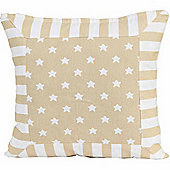 Homescapes Cotton Beige Stripe Border and Stars Scatter Cushion, 45 x 45 cm