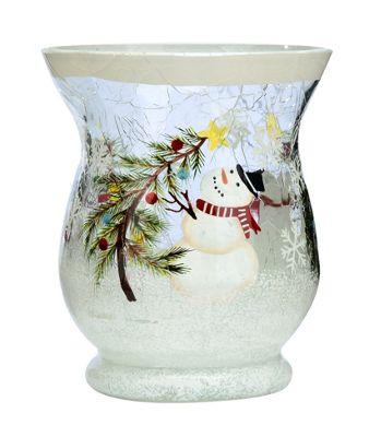 Wax Lyrical Christmas Snowman Small Crackle Glass Tealight Holder