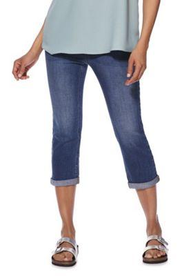 F&F Mid Rise Cropped Jeans Mid Wash 8 Regular leg
