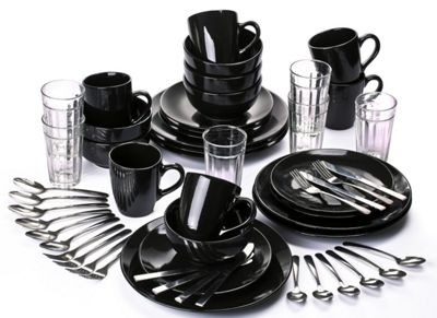 54 Piece Hoxton Black Combo Starter Dinner Set