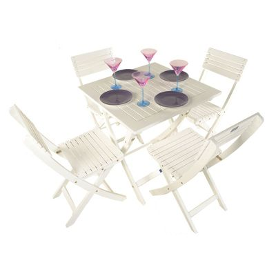 Painted Wooden 4 Seater Square Folding Bistro Set White - Outdoor/Garden table and Chair set.