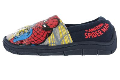Boys Spiderman Flashing Badge Red & Blue Elasticated Slippers Kids Child Size 7