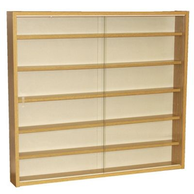 6 Shelf Glass Wall Display Cabinet - Oak