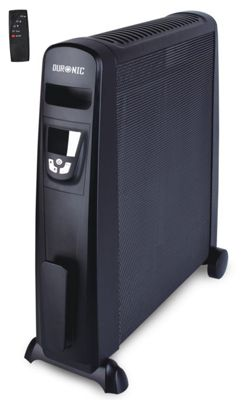 Duronic HV101 black mica panel 2.5kw radiant convector heater with thermostat - oil free heater - heats up in 1 minute