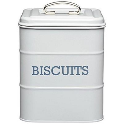 KitchenCraft Living Nostalgia Metal Biscuit Tin in French Grey LNBISCGRY