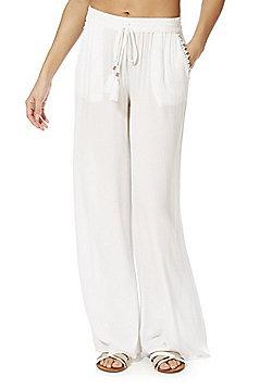 F&F Crinkle Wide Leg Beach Trousers - White