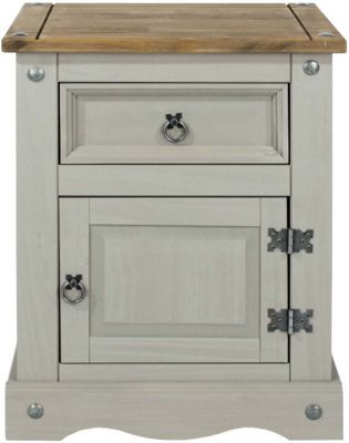 Core Products Corona Grey 1 Door 1 Drawer Bedside Cabinet