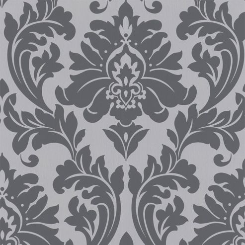 Superfresco Easy Paste the Wall Majestic Damask Grey Wallpaper