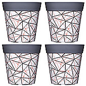 4 x Single 22cm Grey Geometric Plastic Garden Planter 5L Flowerpot by Hum