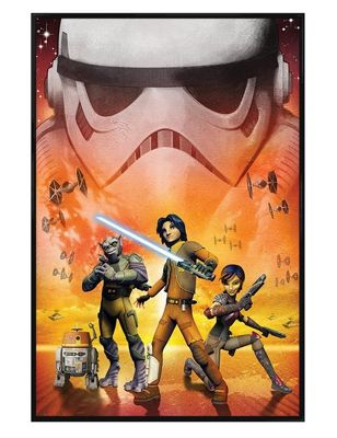Gloss Black Framed Star Wars Rebels Main Characters Poster