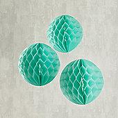 Set of 3 Mint Green Paper Honeycomb Decorations