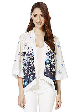 Mela London Butterfly Print Chiffon Kimono - White