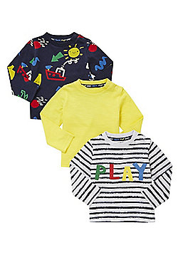 F&F 3 Pack of Play Print and Plain Long Sleeve T-Shirts - Multi