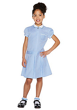F&F School 2 Pack of Easy Care Gingham Dresses with Scrunchies - Blue