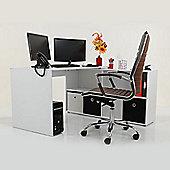 Kanta Corner / Multi Position Office Desk White \ Black Drawers