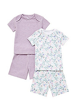 F&F 2 Pack of Floral Print and Plain Shorts Pyjamas - Lilac