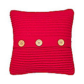 Catherine Lansfield Chunky Knit Cushion Cover - Red
