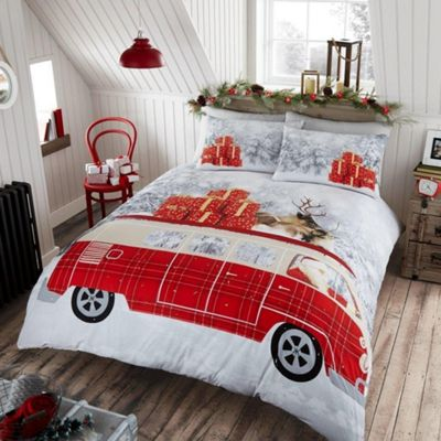 Santa'S Campervan ' Christmas' Panel King Bed Duvet Quilt Cover Set