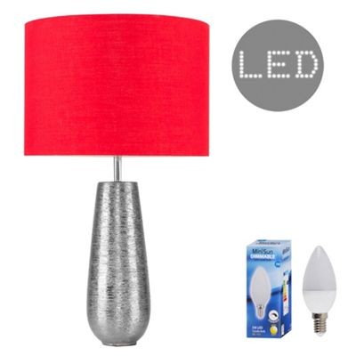 Hastings 65cm Touch Dimmer LED Table Lamp - Silver & Red