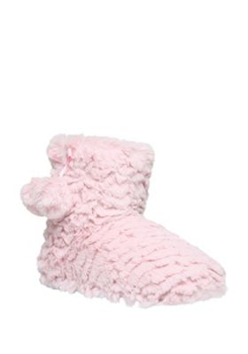 F&F Pom Pom Trim Faux Fur Bootie Slippers Adult 5-6 Pink
