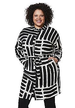 Simply Be Painted Stripe Plus Size Shirt Dress - Black/White
