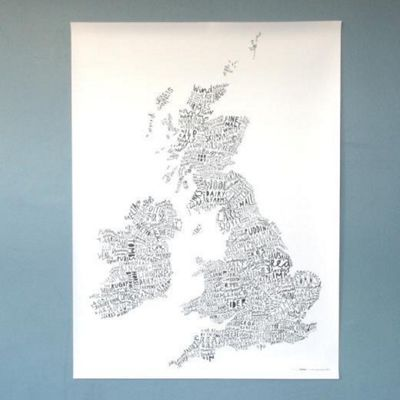 Word Map Print, Grey