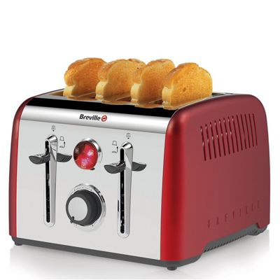 Breville VTT725 Opula Candy Red 4 Slice Stainless Steel Toaster