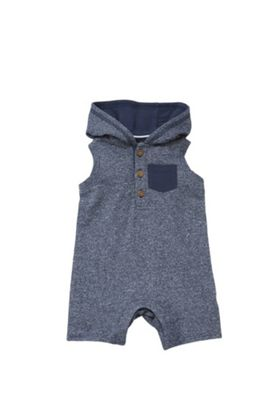 F&F Hooded Sleeveless Romper Blue 3-6 months