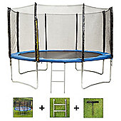 Up and About 14ft Stormpower Blue Trampoline Package with Free Ladder, Weather Cover and Building Tool