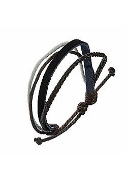 Men's Brown, Black & White Leather & Cord Strand Bracelet by Urban Male