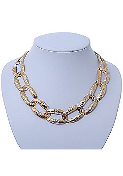 Chunky Gold Plated Hammered Oval Link Choker Necklace - 36cm Length