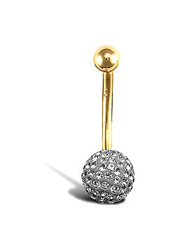 Jewelco London 9ct Yellow Gold Belly Bar with crystal-set end bead - Silver