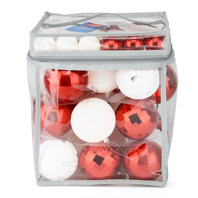 Christow 63 Luxury Christmas Baubles In PVC Bag - Red & White
