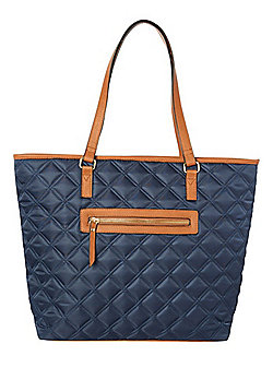F&F Quilted Tote Bag Navy One Size