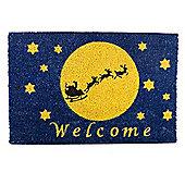 Santa Sleigh Silhouette in Night Sky Christmas Coir Doormat
