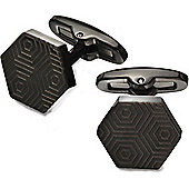 Fred Bennett Etched Hexagon Shaped Stainless Steel Cufflinks with a Black IP Plated Finish - V530