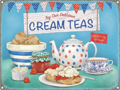 Cream Teas Bunting Tin Sign 30x40cm