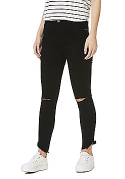 Noisy May Ripped Knee Raw Hem Skinny Jeans - Black