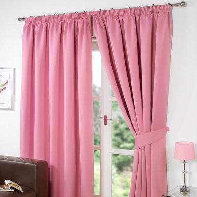 Dreamscene Pair Thermal Blackout Pencil Pleat Curtains, Pink - 90