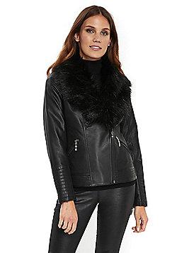 Wallis Faux Fur Collar Biker Jacket - Black