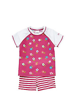 Babeskin Floral and Striped UPF 50+ Protection Rash Vest and Shorts Set - Pink