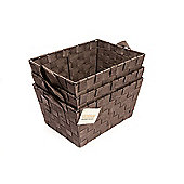 EHC Set Of 3 Woven Storage Basket With Carry Handles -Dark Brown