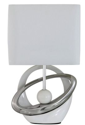 White & Silver Ceramic Cray Table Lamp with Pure White Shade