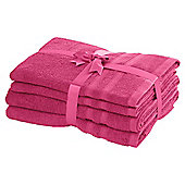 TESCO PURE COTTON 4 PIECE TOWEL BALE FUCHSIA