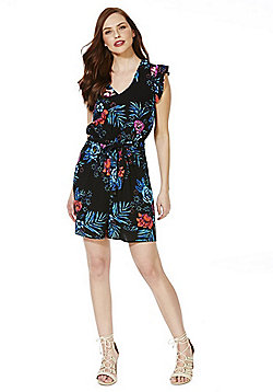 F&F Tropical Print Ruffle Sleeve Playsuit - Multi