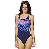 Zoggs Graphic Print Sprintback Swimsuit - Blue