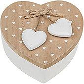 Rustic Heart - Wood Heart Shaped Storage / Trinket / Jewellery Box - Brown / White