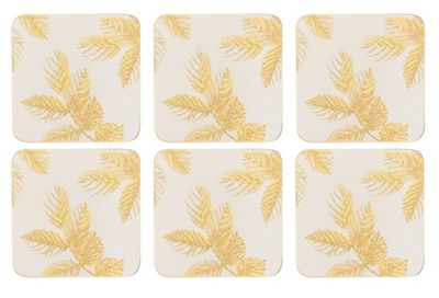 Sara Miller Etched Leaves Light Grey Coasters, Set of 6